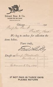 U.S. Edward Rose amp; Co. Chicago Logo 1901 Tailors For The Trade Invoice Ref 43359 GBP 6.00