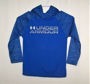 Boys Unisex Youth Under Armour Logo Pullover Polyester Hoodie Blue Size 5 EUC $10.00