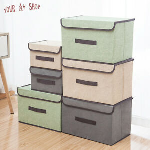 Collapsible Storage Box With Lid Linen Fabric Foldable Bins Organizer Basket US