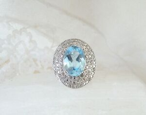8.95ct Natural Swiss Blue Topaz Sterling Silver 925 Cocktail Oval Ring Size 7 $69.00