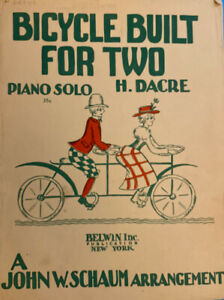 BICYCLE BUILT FOR TWO Piano Solo by H. Dacre 1943 CLASSIC SHEET MUSIC $4.99