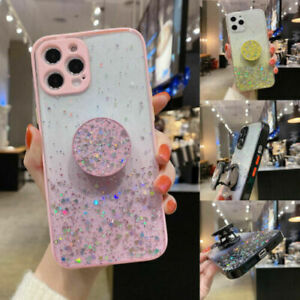 For iPhone 12 Pro Max 11 XR 7 Bling Glitter Star Kickstand Holder Clear TPU Case $6.55