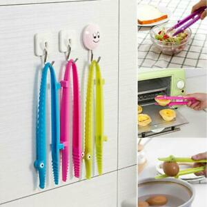 Kitchen Cooking Tongs Food Fruit BBQ Salad Bacon Steak Bread Clip Silicone Clamp