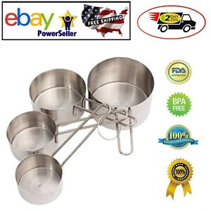 4 pc Stainless Steel Measuring Cup Set for Dry Liquid Cooking Baking Ingredients