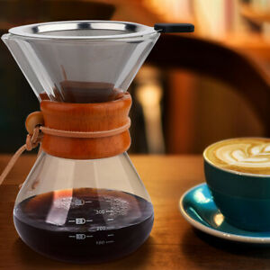 Classic Glass Hand Drip Coffee Maker Pot Chemex Style Pour Over 400ml W Filters