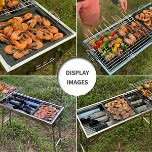 Foldable Portable Grill Household Stainless Steel BBQ Silver Home Outdoor