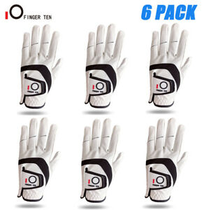 Pack Of 6 Golf Gloves Left Hand Right White Leather Breathable All Weather Soft $24.99