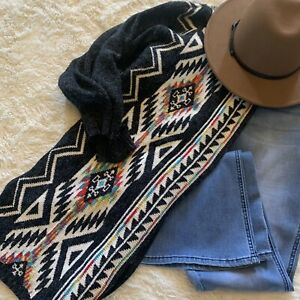 XL New Native Cowichan Tribal Cardigan Sweater Womens Vtg 70s Insp X LARGE $68.50