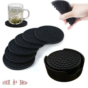 Set of 6 Silicone Drinks Coasters With Holder Non Slip Cup Mat Pad Round Rubber