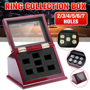 2 3 4 5 6 7 Holes Wooden Box For Championship Ring Storage Collection Display US $26.63