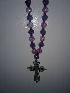 Purple And Pink Cross Necklace