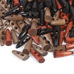 50pcs Toggle Sewing Wood Toggle Buttons For Coats Sweater Sewing Crafts De Y1 C $5.37