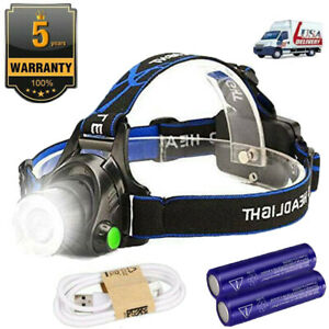Super Bright LED Headlamp Headlight USB Rechargeable Head Torch Battery MA $14.79
