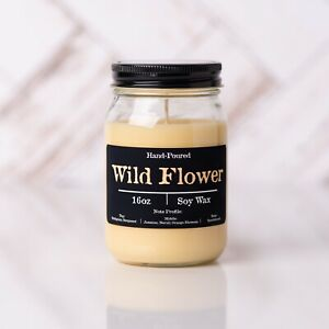 Wild Flower Soy Candle 16oz Glass Jar Container Floral Scented Hand Poured New $15.50
