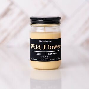 Wild Flower Soy Candle 12oz Glass Jar Container Floral Scented Hand Poured New $13.50