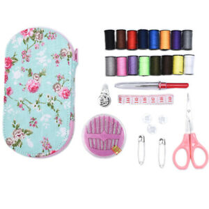 Portable Travel Sewing Kits Box Multicolor Needle Thread Pin Scissors Sewing HH C $6.90