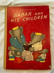1938 Babar His Children Over Size Hardcover Book w Lithographs Brunhoff $14.85