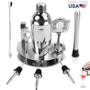 Cocktail Shaker Set 12 Pcs Bartender Kit Bar Tool with Stand Stainless Steel gj