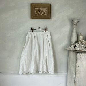 White Petticoat Cotton Skirt 1910 French Antique Clothing Workwear Work Wear $65.00