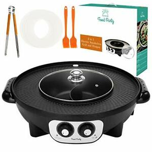 Food Party 2 in 1 Electric Smokeless Grill and Hot Pot