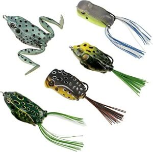 Topwater Frog Lures Soft Fishing Lure Kit with Tackle Box for Pike Snakehead