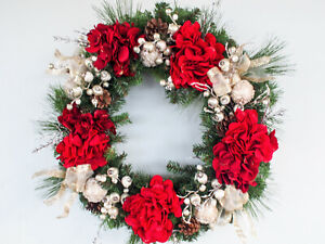Christmas grapevine with red hydrangeas green balls gold balls red berries $80.00