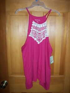 Women#x27;s Roper Pink with White Lace Halter Tank size large NWT