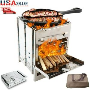 Stainless Steel Square Wood Burning Stove Portable Collapsible Grill Outdoor BBQ $30.99