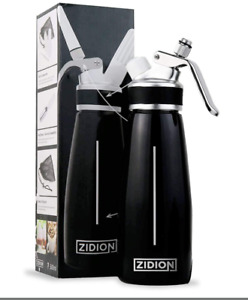 Zidion Whipped Cream Dispenser Professional Grade Aluminum Canister 3 Nozzles