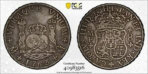 PCGS Mexico 1763 Pillar 8 Reales Charles III Spanish Colonial Silver Coin VF35 $759.00