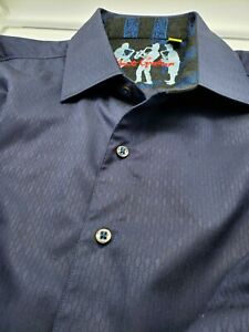 Robert Graham TAILORED FIT DARK BLUE LONG SLEEVE WITH CUFF DESIGN SIZE L $36.99