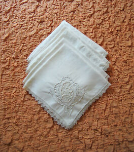 5 vintage off white Madeira cutwork hand embroidery chic cottage tea napkins 12quot; $17.99
