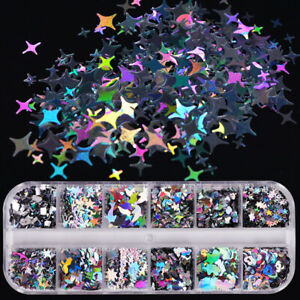 12 Grids Nail Art Glitter Laser Sequins Holographic Flakes 3D DIY Nail Tips