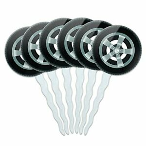 Set of 6 Cupcake Picks Toppers Decoration Automotive Racing Number Tire