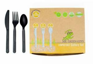 Compostable Heavyweight Disposable Forks Knives Spoons Set 50ct each of E...