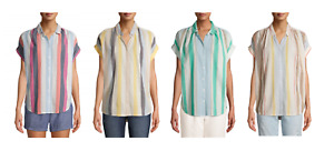 Time and Tru Women#x27;s 100% Cotton Button Front Shirt with Rolled Sleeves