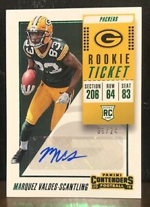 2018 Contenders Marquez Valdes Scantling Rookie Ticket Auto Green 1 24 🔥�FOTL $30.00