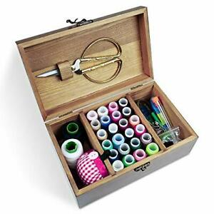 Wooden Sewing Kit Sewing Boxes Organizer with Accessories Wooden Sewing Kits $25.16
