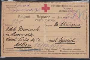 WWI POW Prisoner of War Military Triangle Censor RED CROSS Card RUSSIA 1917 $11.78