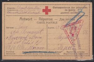 WWI POW Prisoner of War Military Triangle Censor RED CROSS Card RUSSIA 1916 $11.78