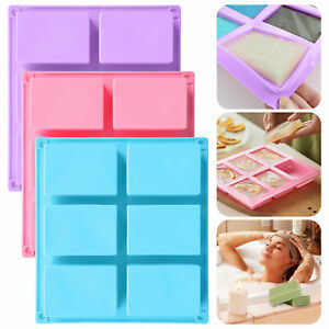 6 Cavities Silicone Soap Mold Rectangle Soap Baking Cake Mould DIY Handmade Tool $12.48