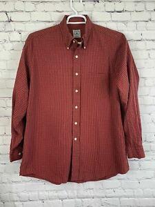 Brooks Brothers Mens Sport Shirt Long Sleeve Button Up Plaid Red Size L $24.99