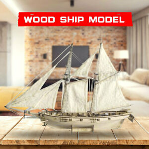 Scale 1:100 Wooden Wood Sailboat Ship Kits Boat Gift Home Decor Gift Hobby US $16.91
