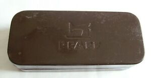 Vintage Pfaff sewing accessories tin case brown with paint missing on bottom $4.95