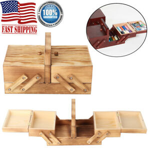 Vintage Cantilever Sewing Basket Wooden Box Organizer for Crafts DIY Tools Home $28.69