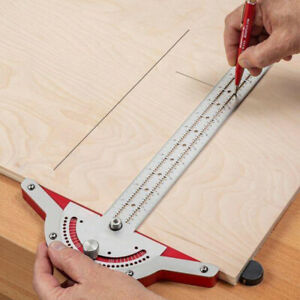 Woodworker Edge Rule Protractor Angle Two Arm Carpentry Ruler Measuring Tapes $17.09
