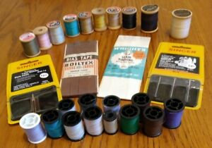 Misc. Lot of Sewing Items Vintage Wood Spool Threads Singer Machine Needles $25.00