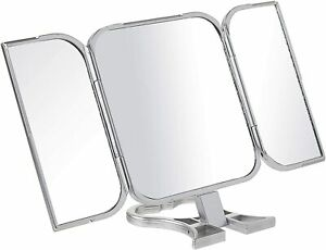 3 Way Mirror With Hand Silver Square For Makeup Haircut Shave Mirror $9.79