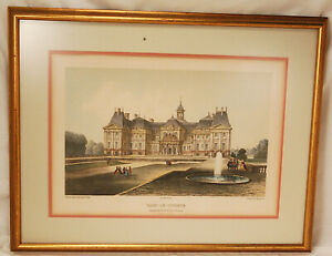 Antique Hand Tinted Lithograph of Chateau Vaux Le Vicomte Artist Charles Fichot $34.95