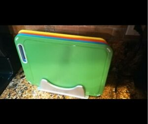 Plastic Cutting Board Set of 4 with Storage Stand Color Box Packed